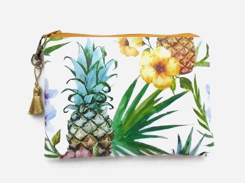 Pineapple print vegan faux leather zipper bag.