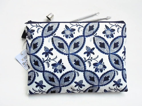 Gifts for her, Wash bag, Botanical Indigo print, boho, pocket bag, travel bag