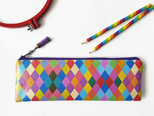 Art gifts, Waterproof eco Pencil Case,harlequin fabric,faux leather
