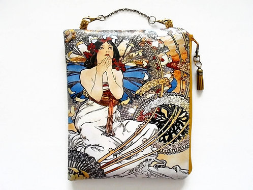 Art Nouveau hanging bag, travel bag, overnight bag, waterproof pouch.