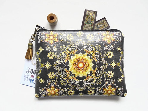 Gold ornate vegan wallet,faux leather zipper pouch.
