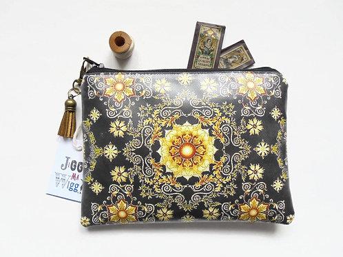 Gold ornate vegan wallet,faux leather zipper pouch.