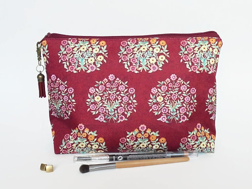Gifts for her, Canvas Wash bag, Raspberry florals, cosmetic bag, zip bag