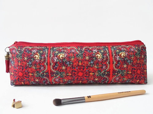Art gifts, Russian scarf inspired, mascara bag, pencil pouch, brush bag
