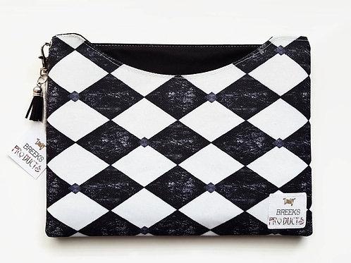 Dust sleeve,9.7,Ipad 4,3,2,harlequin,diamond print,black and white,monochrome