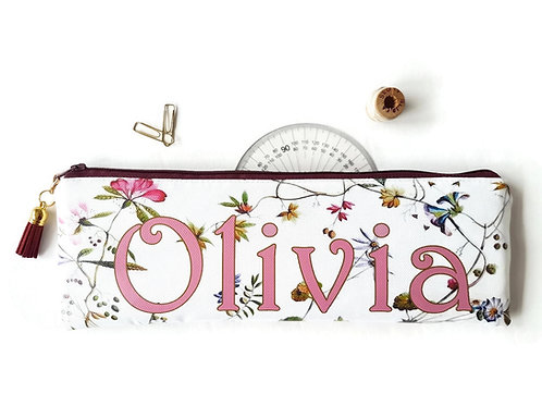 Personalised Botanical Vegan Pencil Case.