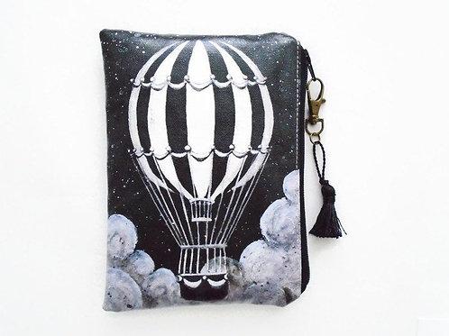 Monochrome Hot air balloon vegan vinyl wallet.