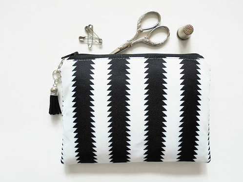Zipper Pouch, Black and white, Monochrome, small zipper bag, sewing pouch
