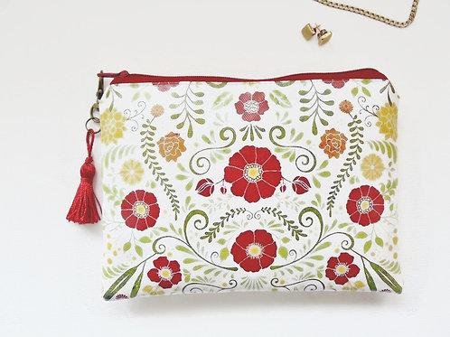 Primitive Folk Flowers Coin purse vegan faux leather zipper.