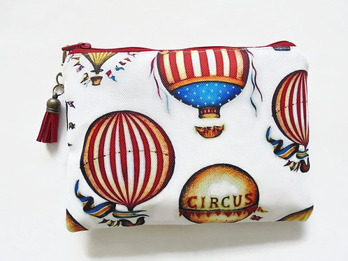 Canvas Pouch, Hot air balloon, Vintage circus, carnival theme.