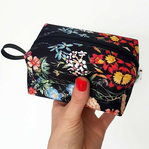 Black floral travel pouch
