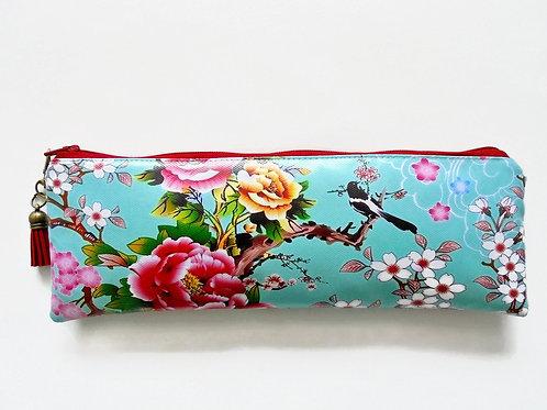 cherry blossom, birds, eco vinyl, brush case, make-up brush bag, crochet hook s