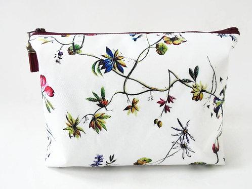 Dumpy Wash bag, Botanical print, Floral wash bag, cosmetic bag, zip bag, make up