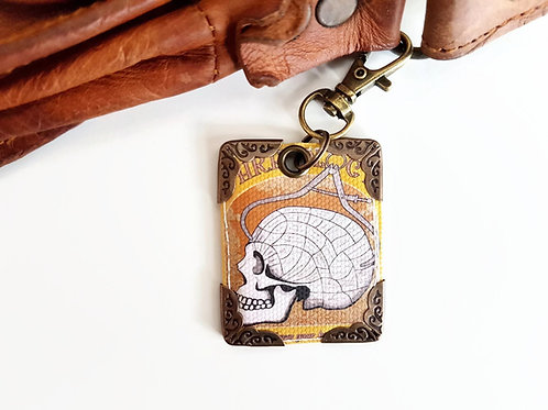 Phrenology keyring, bag tag, key tag, purse charm,