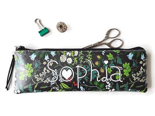 Personalised Vegan Black woodland print Pencil Case.