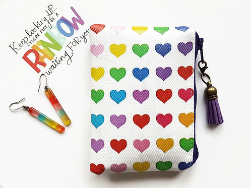 Rainbow love hearts coin purse,business card holder, credit card Wallet,