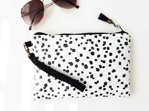 Dalmatian print vegan leather wristlet clutch,credit card pockets and phone sepe