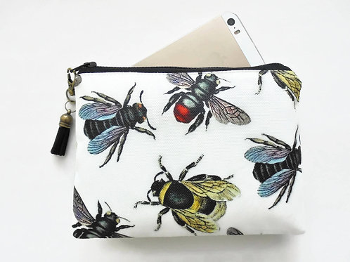, Canvas Pouch, Bee species, Vintage bees, bee wallet.