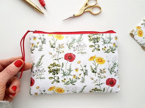 Poppies & Dandelions Floral print vegan wallet.