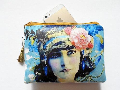 Flapper girl zipper wallet, vegan vinyl.