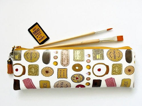 Art gifts, Waterproof Pencil Case, British biscuits print, vegan leather, brush