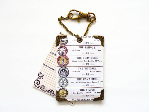 Cotton reels luggage tags, bag tags.