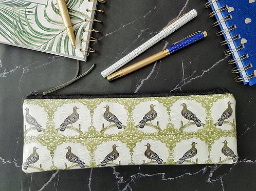 Pigeon hole pencil case, water resistant outer vegan XLong brush bag