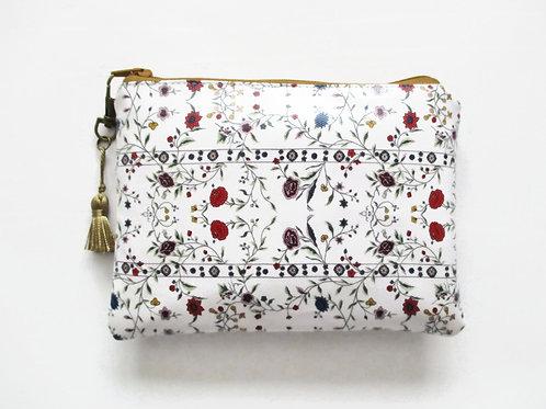 Primitive floral vegan wallet, faux leather zipper pouch.