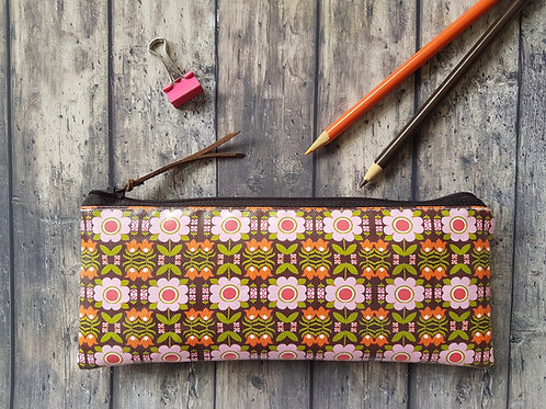 70s inspired vegan leather,water resist outer pencil case.