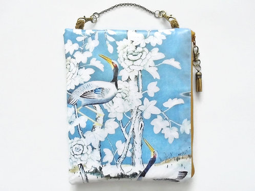 Chinoiserie hanging art bag, vegan faux leather cosmetic bag.