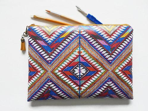navajo, aztec, tribal bag with zipper.