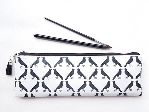 Bird print pencil case,water resistan vegan XLong brus