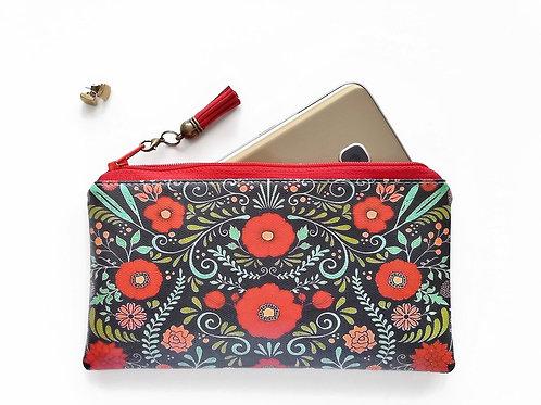 Red folky phone wallet, vegan vinyl zipper wallet.