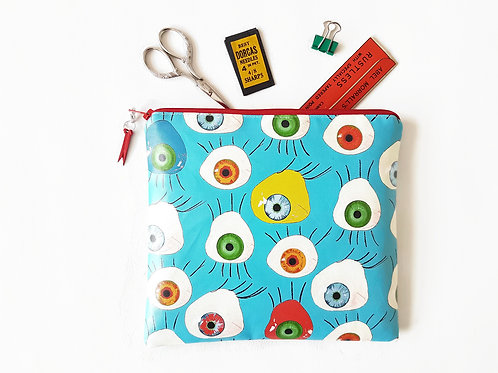 Peepers print square bag, vegan make-up bag, faux leather bag.