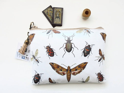 moths,insects,beetles,entomology print,waterproof wallet,