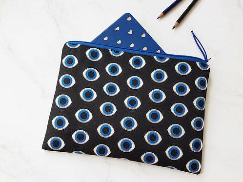 Eyeball print canvas washbag, royal blue makeup bag.