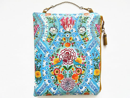 Birds and flowers hanging cosmetic vegan vinyl bag.
