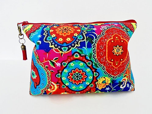 Canvas Wash bag,Boho, Indian, colourful travel bag, cosmetic bag, zip bag