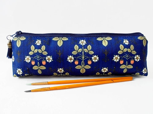 Art gifts, Victorian inspired, navy blue strawberry, mascara bag, pencil pouch,