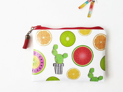 cacti,kiwi,melon,orange,lemon print vegan vinyl zipper wallet.