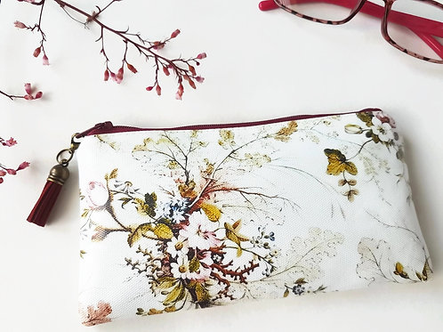 Antique floral Phone sleeve,phone pouch,phone wallet,phone storage,botanical fab