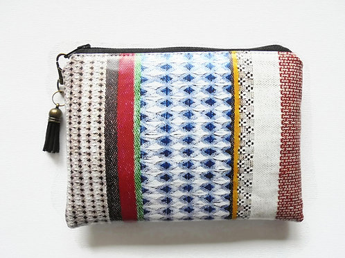 Ethnic geo mix vegan zipper faux leather wallet.