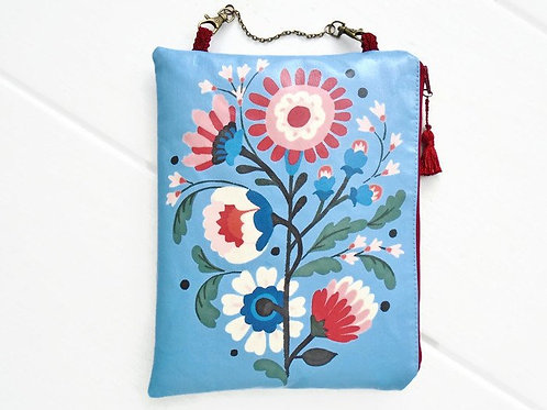 Blue and Red folky hanging vegan vinyl cosmetic bag