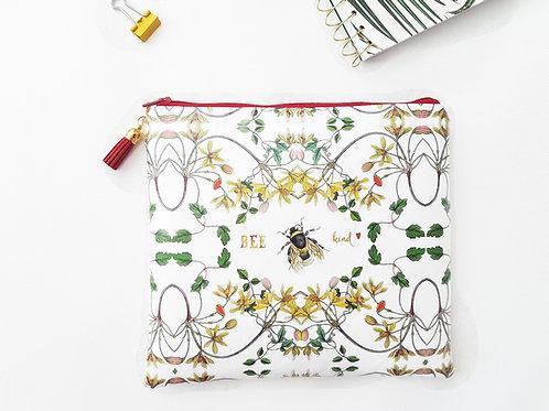 Bee Kind square bag, vegan make-up bag, faux leather bag.