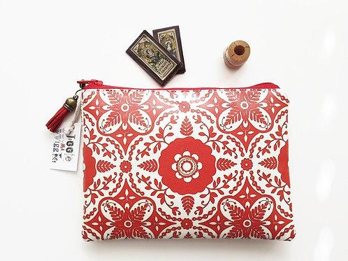 Red boho,bohemian vegan vinyl zipper pouch