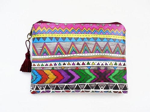 Navajo brights wallet, vegan faux leather zipper pouch
