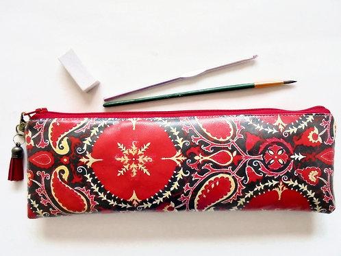 Red Paisley vegan faux leather zipper pouch, pencil case.