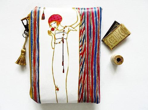 Art deco style zipper wallet, vegan vinyl.