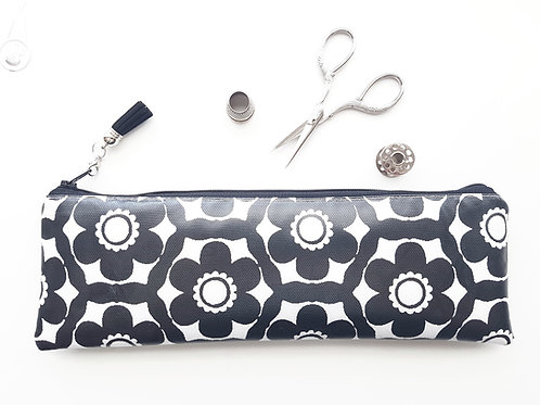 Monochrome Daisy pencil case,Vegan pencil, brush pouch.