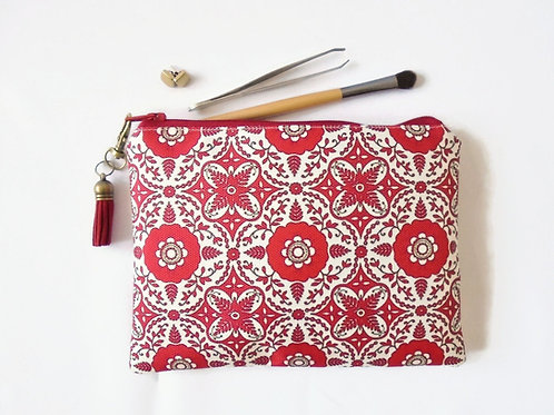 sewing Pouch, red medallion, boho style, travel wallet, makeup organiser.